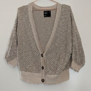 AEO Grey/Cream Knit Dolman Cardigan Size M